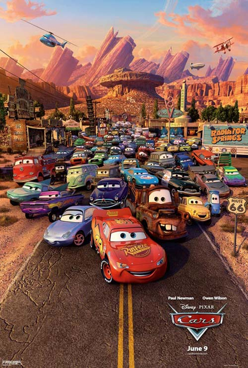 New, but a bit cocky, race sensation Lightning McQueen is traveling to California for a big race when he gets caught speeding through Radiator Springs just off Route 66. He makes a mess of things when trying to get away, and judge Doc Hudson orders the sheriff to watch McQueen carefully while he makes repairs. McQueen ends up befriending lots of the town folk, and even finds out that Doc, also a racer from days gone by, was his hero growing up. Sounds like a great story. But all the characters are talking cars. The movie is a wonderful model of reality immersed in fantasy. And all the imagery in motion results from computer-generated modeling that accounts for the physics of real bodies in motion. Poster for Pixar's movie Cars. Credit: Disney 2006