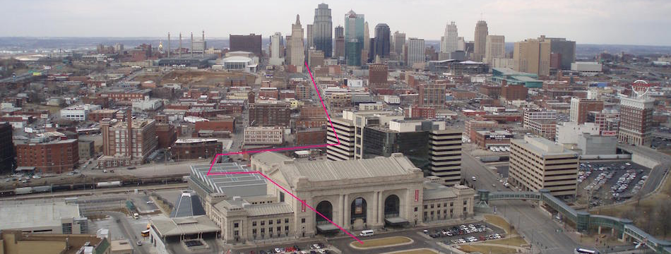 Voyage path in Kansas City from Power and Light Building at 13th and Baltimore, to Union Station.